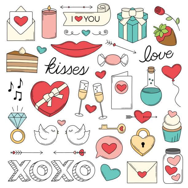ilustrações de stock, clip art, desenhos animados e ícones de love doodles - balão enfeite
