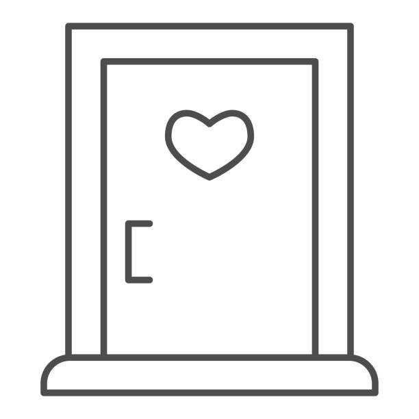 Love doorway thin line icon. Close door with heart shaped window symbol, outline style pictogram on white background. Valentine day sign for mobile concept and web design. Vector graphics. Love doorway thin line icon. Close door with heart shaped window symbol, outline style pictogram on white background. Valentine day sign for mobile concept and web design. Vector graphics architecture borders stock illustrations