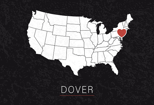 Love Dover Picture. Map of United States with Heart as City Point. Vector Stock Illustration
