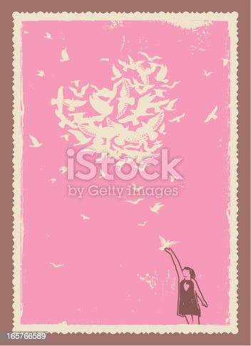 Vector illustration of a flock of doves high up in the sky. Еverything is love.