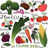 Colorful Images Eco. Fruit and Vegetables with Lettering.