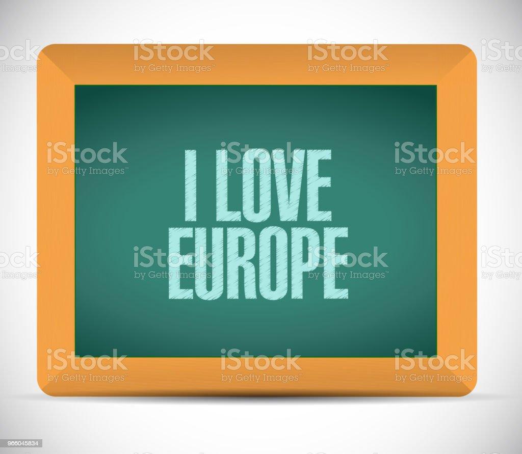 Ich liebe Europa Tafel. Vektor-Illustration. - Lizenzfrei Deutschland Vektorgrafik