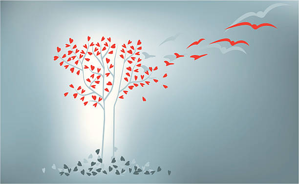 Love Evolution Tree Modern tree spreading heart shapes which turn into birds, or fall and die. changing form stock illustrations