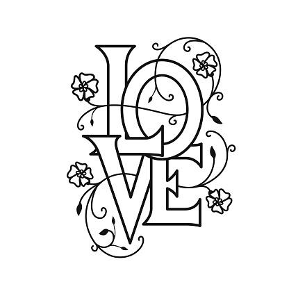 Love floral typography. Vector vintage illustration.