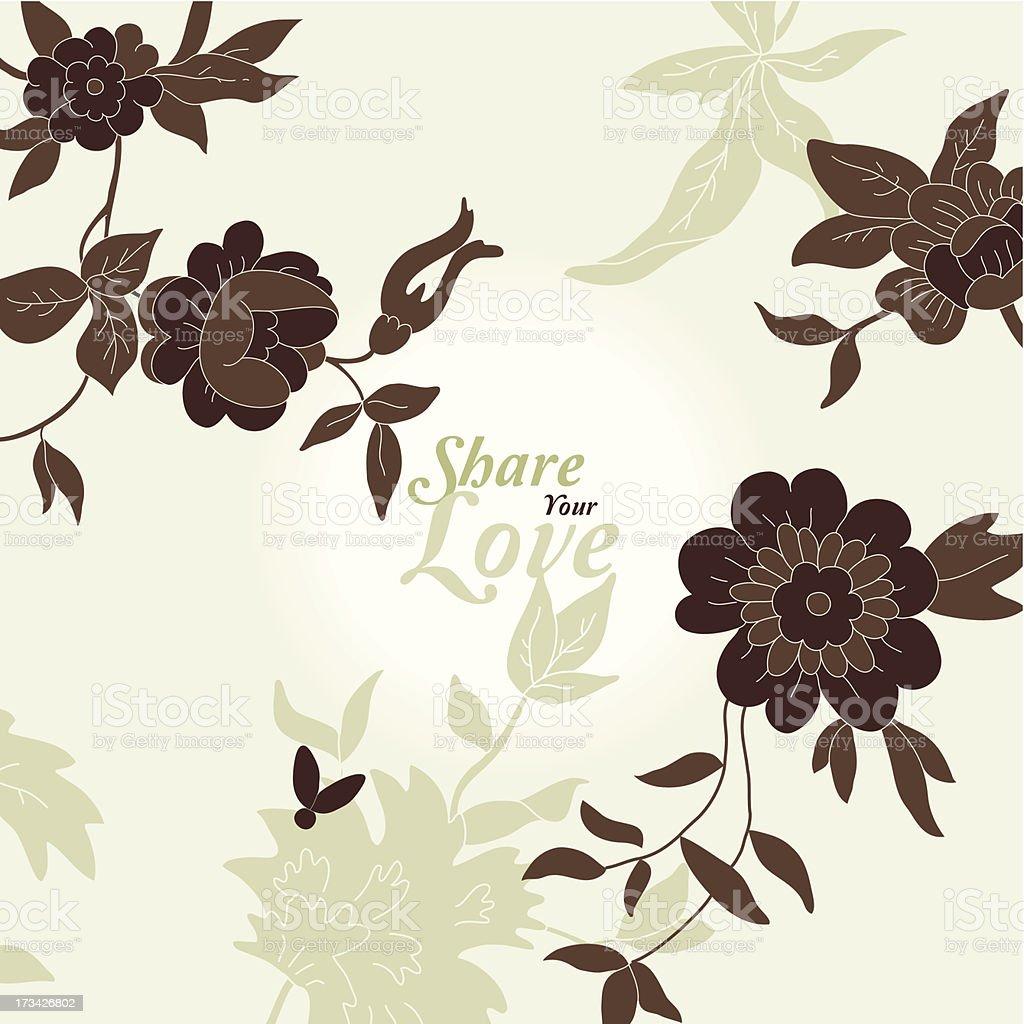 Love Flowers Card royalty-free stock vector art