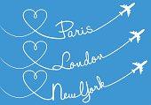 Heart shaped airplane trails, Paris, London, New York, vector set