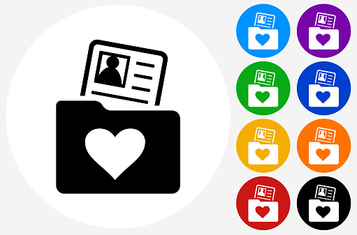 Love Folder Candidate Profile Icon On Flat Color Circle Butt Stock Illustration Download Image Now Istock