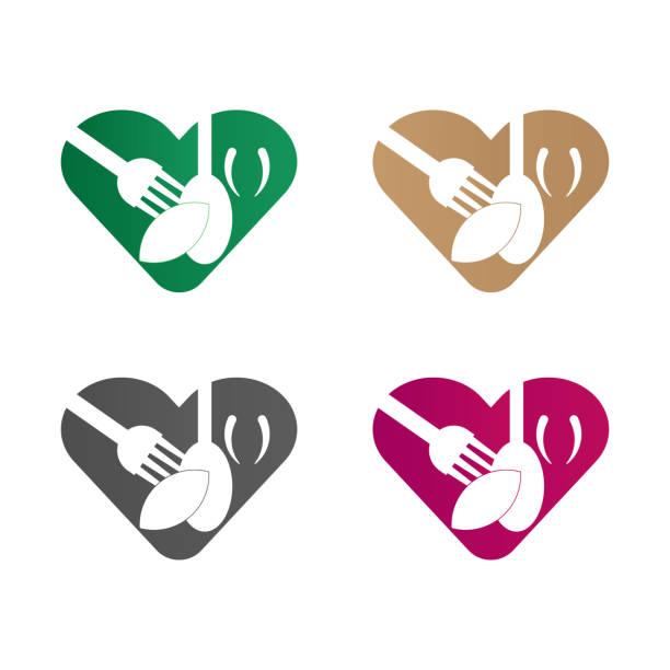 love food logo - hauswirtschaft stock-grafiken, -clipart, -cartoons und -symbole