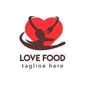 Love Food Logo Vector Template Design Illustration