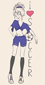I love football. Beautiful athletic woman with soccer ball