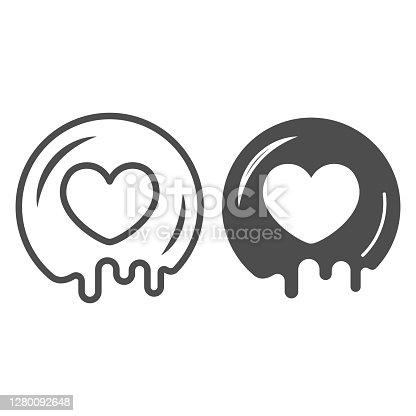 istock Love for chocolate line and solid icon, Chocolate festival concept, cocoa syrup heart shape sign on white background, romantic dessert for valentine day in outline style. Vector graphics. 1280092648