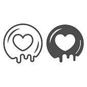 Love for chocolate line and solid icon, Chocolate festival concept, cocoa syrup heart shape sign on white background, romantic dessert for valentine day in outline style. Vector graphics