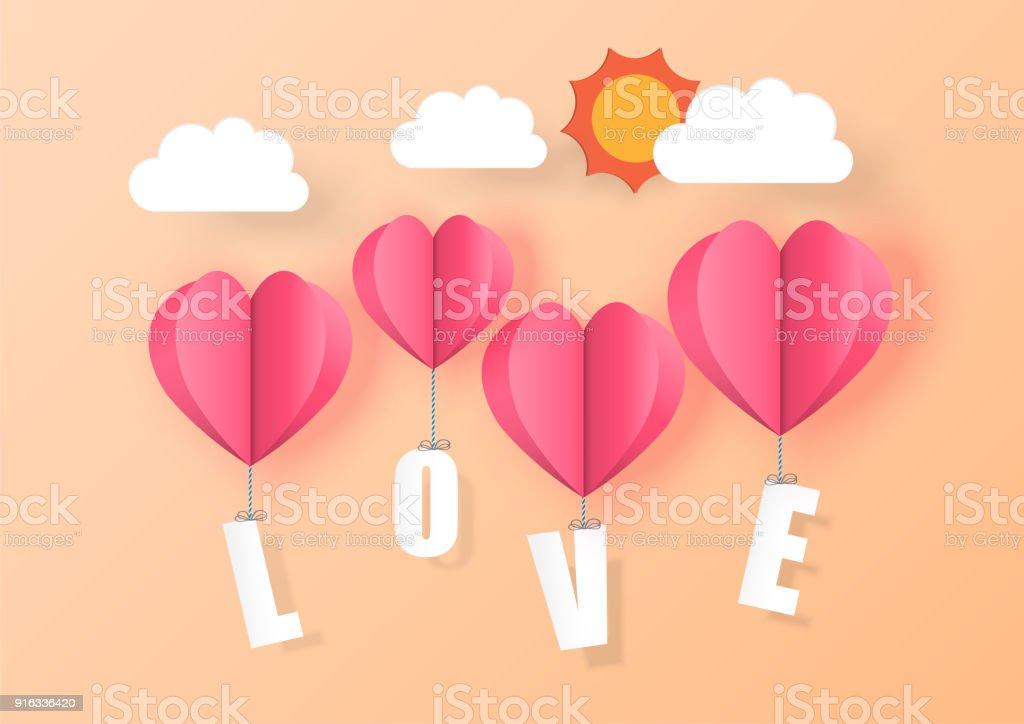 Ilustracion De Amor Para El Dia De San Valentin Globos De Corazon
