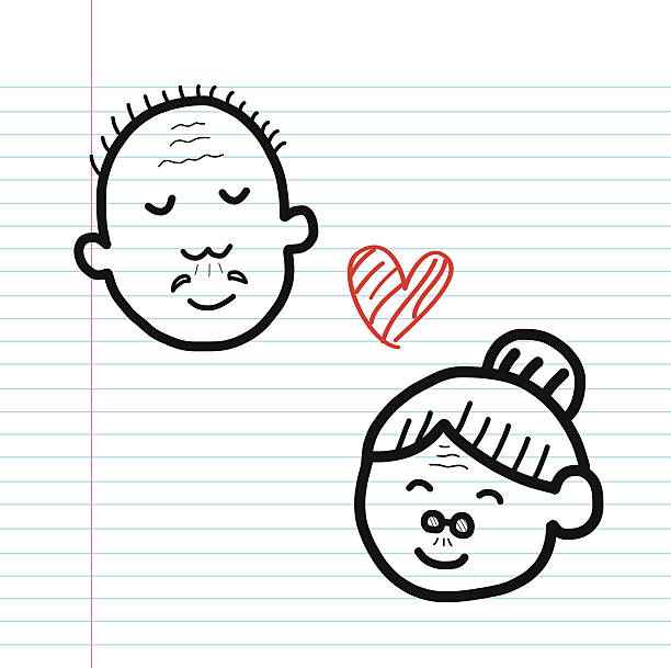 love forever cartoon sketch - old man funny pictures stock illustrations, clip art, cartoons, & icons