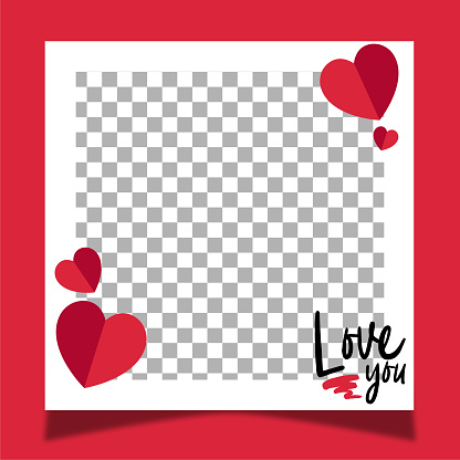 Love frame for valentine's day. Red background.