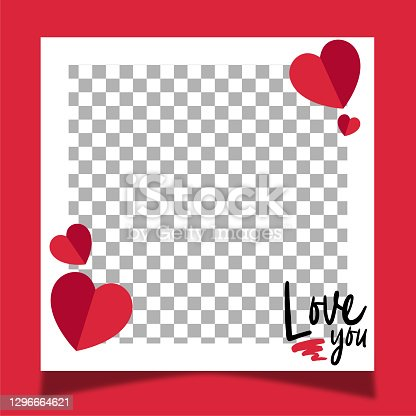 istock Love frame for valentine's day. Red background. 1296664621