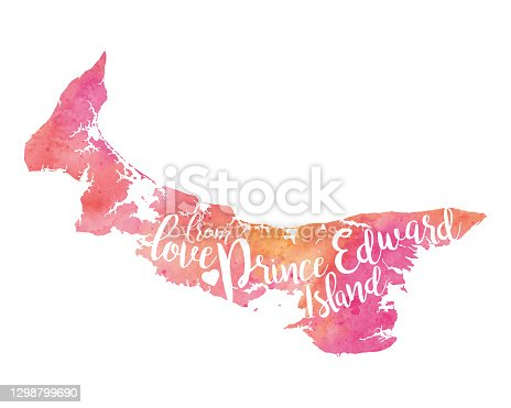 Love from PEI Vector Watercolor Map Illustration in Pink and Coral Tones. EPS 10 Illustration.