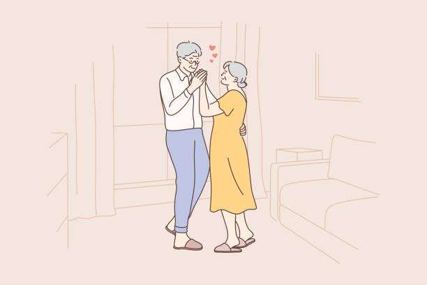 愛、楽しさ、デート、カップル、ダンスコンセプト - 老夫婦点のイラスト素材/クリップアート素材/マンガ素材/アイコン素材