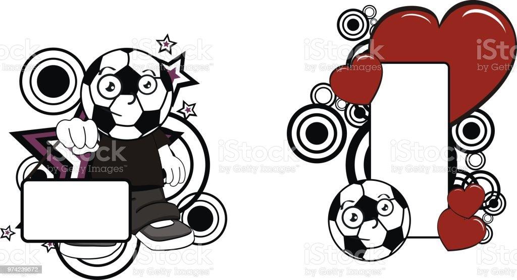 Liebe Lustige Fussball Kopf Kid Cartoon Kopie Raum Serie