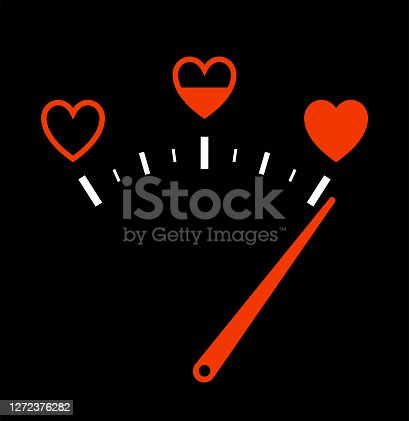istock Love gauge. Valentines Day card. Design element. Isolated on white background. Vector illustration. 1272376282