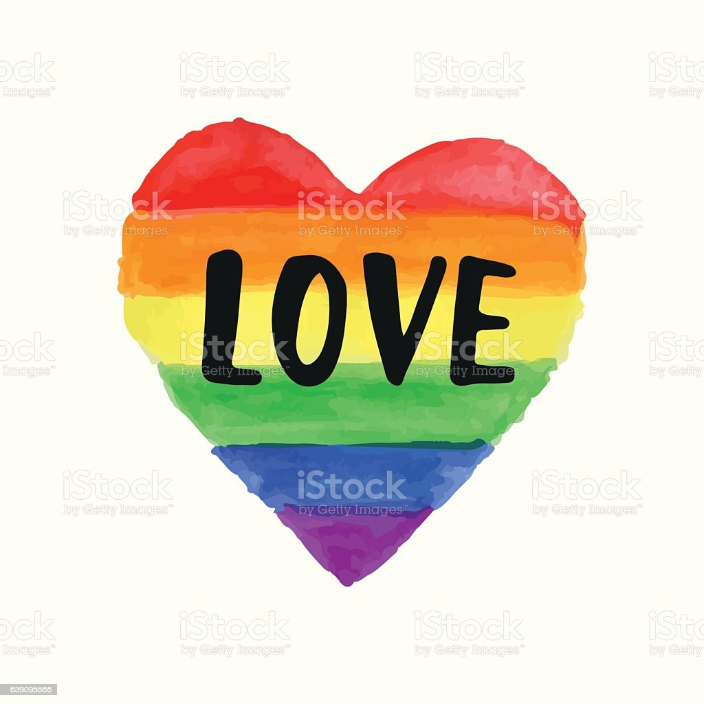 Love Gay Pride poster rainbow spectrum heart shape, brush lettering vector art illustration