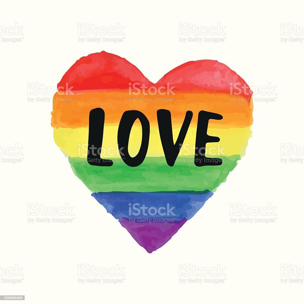 Love Gay Pride poster rainbow spectrum heart shape, brush lettering - ilustración de arte vectorial
