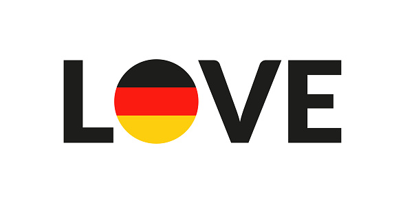 Love Germany design with German flag. Patriotic logo, sticker or badge. Typography design for T-shirt graphic. Vector illustration.