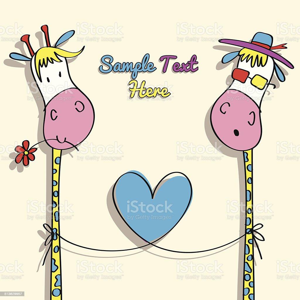 Love Jirafa Ilustracion Dibujo Animado Illustracion Libre De