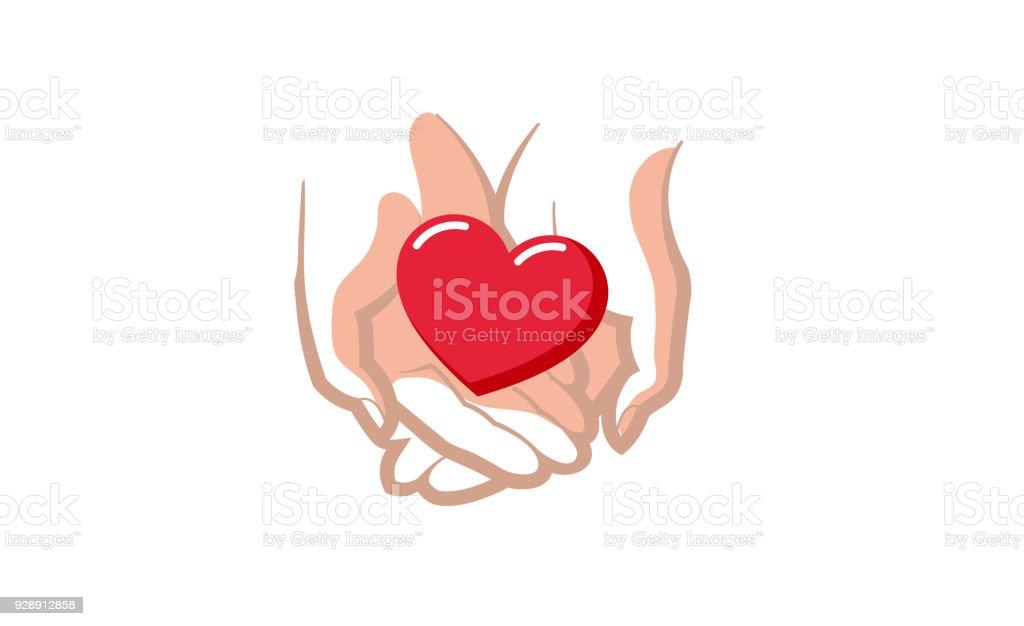 Liebe Geben Herz Liebe Hande Halten Symbol Stock Vektor Art Und Mehr