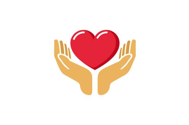 ikona love giving heart love hands holding, - ręka człowieka stock illustrations