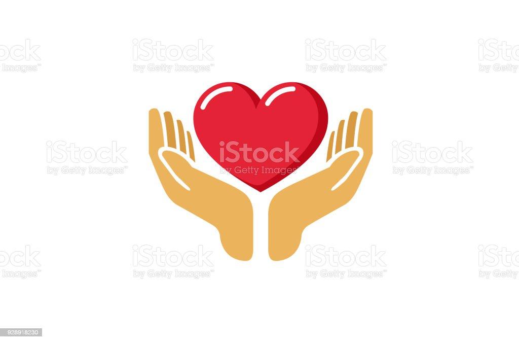 Love Giving Heart Love Hands Holding icon, vector art illustration