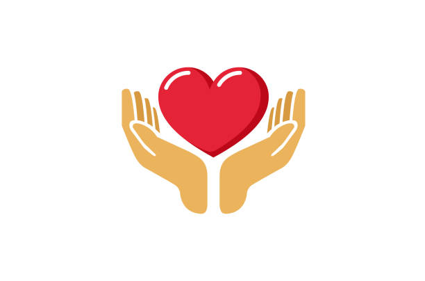 love giving heart love hands holding icon, - serce symbol idei stock illustrations
