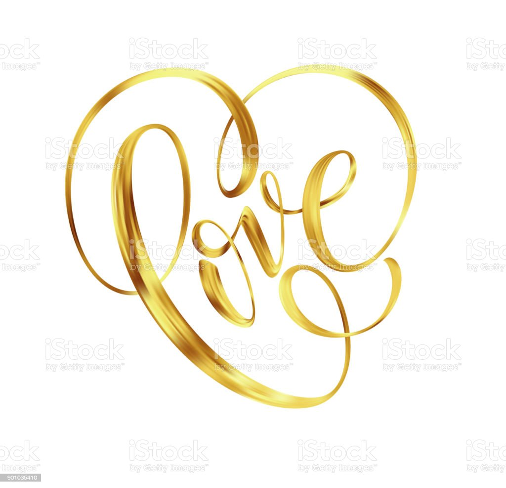 Love Gold Lettering Text On Background Hand Painted Letter Golden