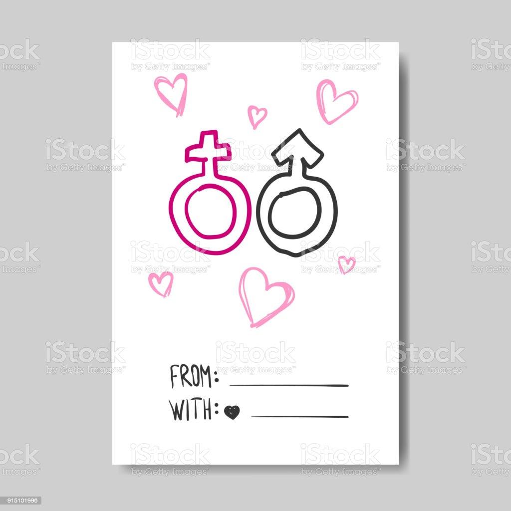 Ilustración de Tarjeta De Felicitación De Amor Mano Dibujado Diseño ...