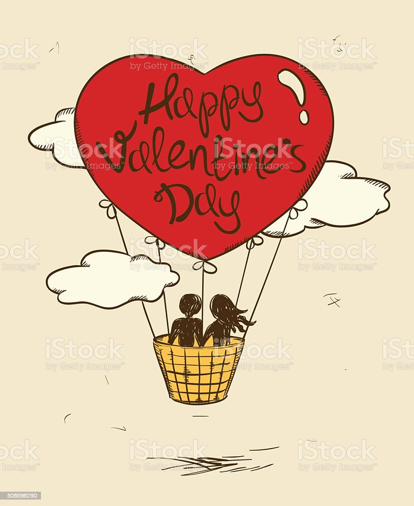 Love Greeting Card With Flying Couple In Hot Air Balloon. - Illustration .
