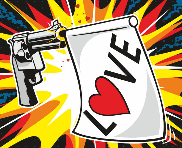 Love Gun vector art illustration