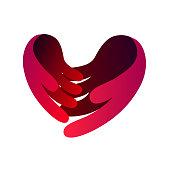 love hand care symbol vector.