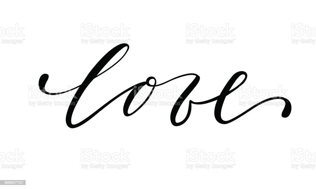 el amor dibujado a mano creativo caligrafía y pincel pluma letras aisladas sobre fondo blanco. - ilustración de arte vectorial