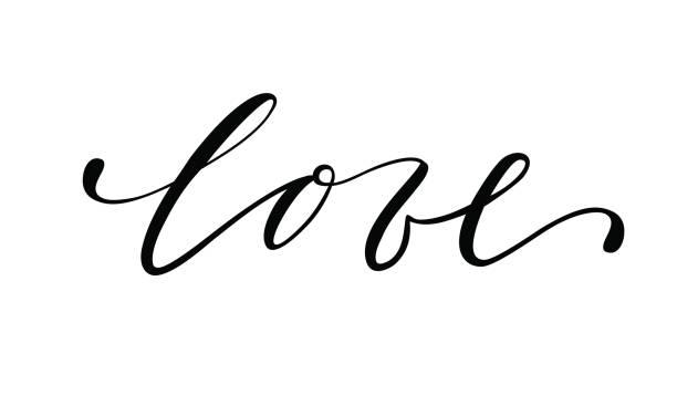 ilustraciones, imágenes clip art, dibujos animados e iconos de stock de el amor dibujado a mano creativo caligrafía y pincel pluma letras aisladas sobre fondo blanco. - tipos de letra de tatuajes