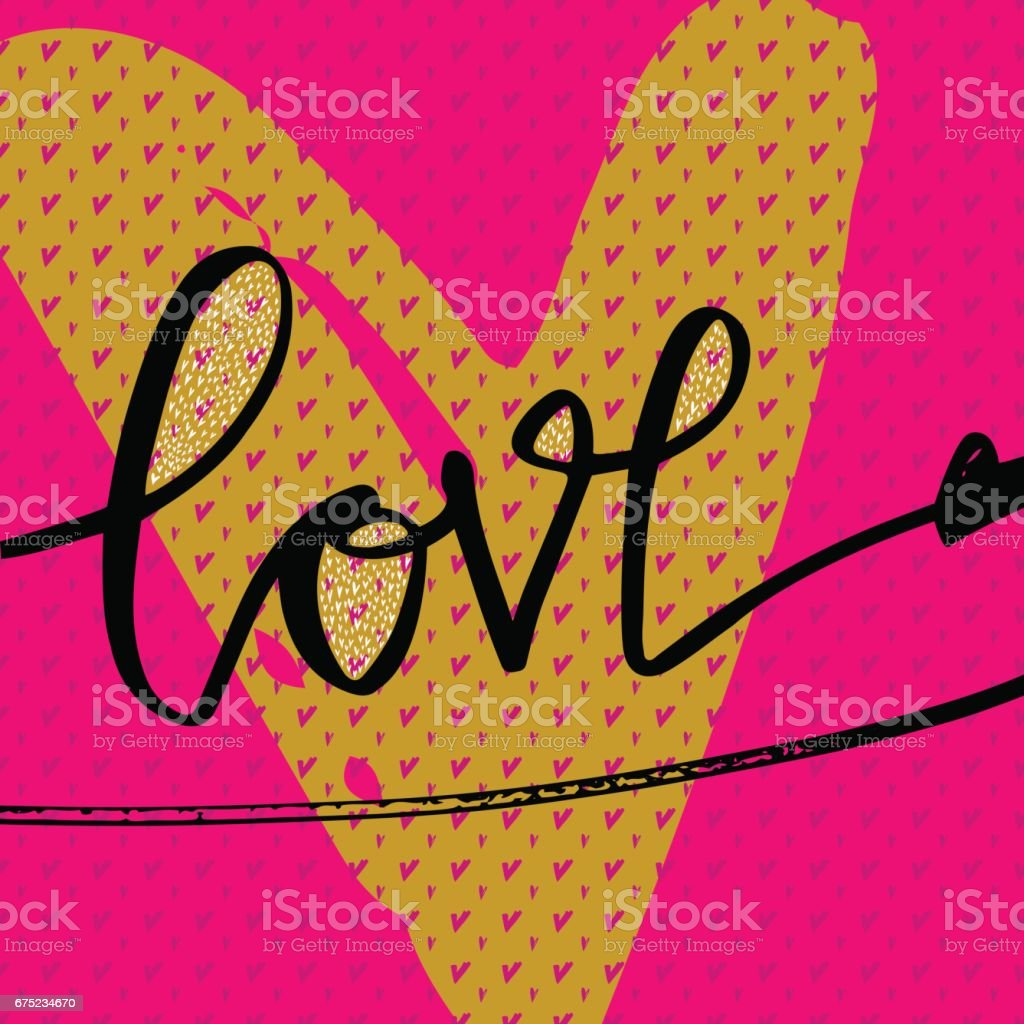 Love hand drawn illustration with hand-lettering, heart and seamless pattern. royalty-free love hand drawn illustration with handlettering heart and seamless pattern stock vector art & more images of alphabet