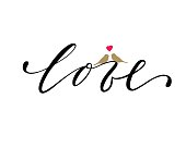 love Hand drawn lettering with sitting two birds and symbol of heart isolated on white background.