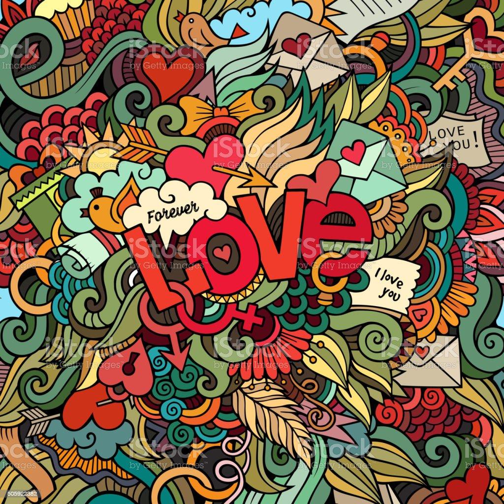 Love hand lettering and doodles elements background. vector art illustration