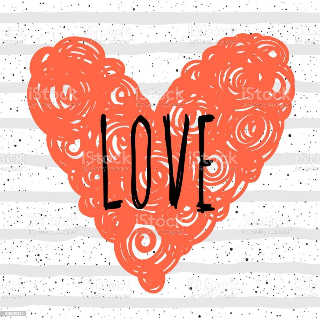 Ilustracion De Amor Letras Escritas A Mano Y El Corazon Hecho A Mano