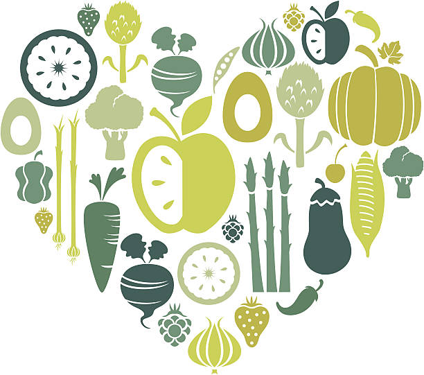 Love Healthy Food A montage of healthy food icons. Click below for more food images. scallion stock illustrations