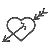 Love heart and arrow line icon. Valentine Day love heart illustration isolated on white. Heart pierced with arrow outline style design, designed for web and app. Eps 10