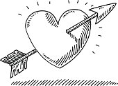 Hand-drawn vector drawing of a Love Heart with an Arrow. Black-and-White sketch on a transparent background (.eps-file). Included files are EPS (v10) and Hi-Res JPG.