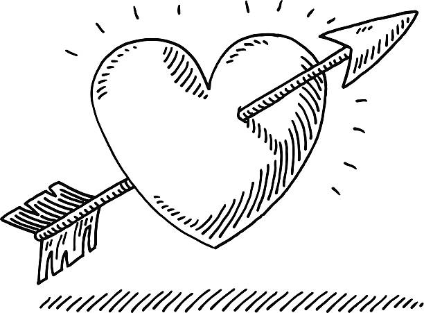 Love Heart Arrow Drawing Hand-drawn vector drawing of a Love Heart with an Arrow. Black-and-White sketch on a transparent background (.eps-file). Included files are EPS (v10) and Hi-Res JPG. celebration stock illustrations