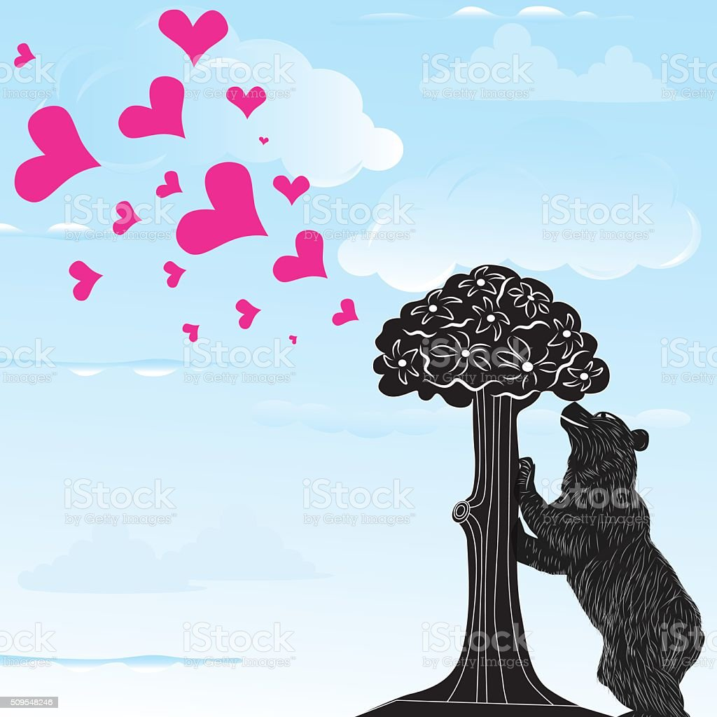 Love heart background with statue of Bear and strawberry tree vector art illustration