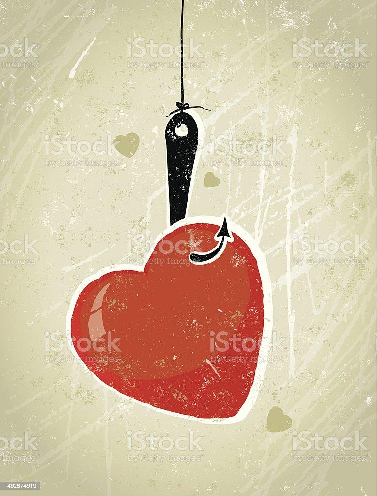 Download Love Heart Caught On Fishing Hook Stock Illustration ...