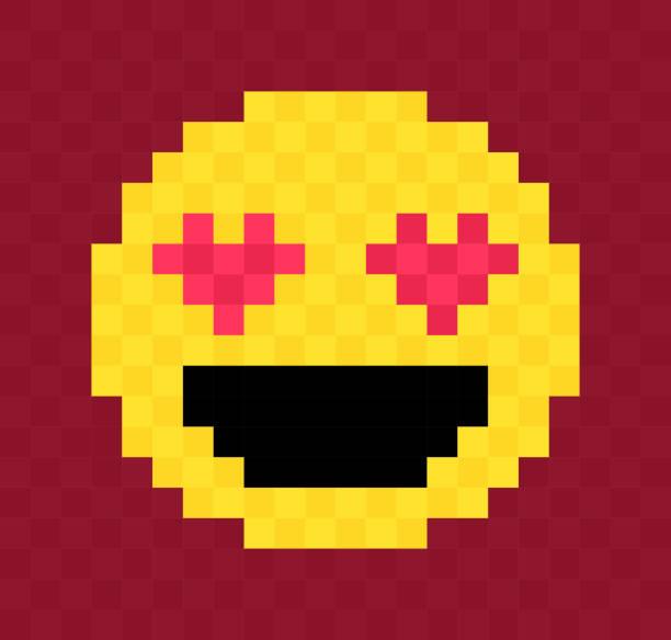 liebe herz augen pixel gesicht - smileys zum kopieren stock-grafiken, -clipart, -cartoons und -symbole